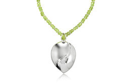 Chased Pear Necklace. Peridot