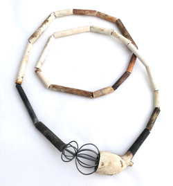 Alison Boyce. Necklace. Found clay pipe & oxidised silver.