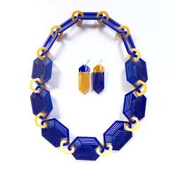 sapphire blue hexagon necklace earrings