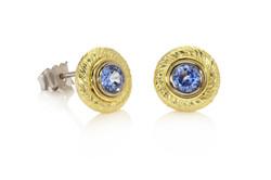 Gold 'Whirl' Stud Earrings. Sapphire