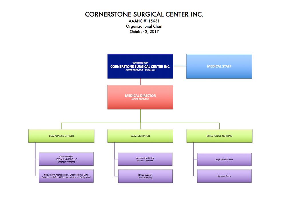 Ambulatory Accreditation Consultants design perfect surgery center org chart.