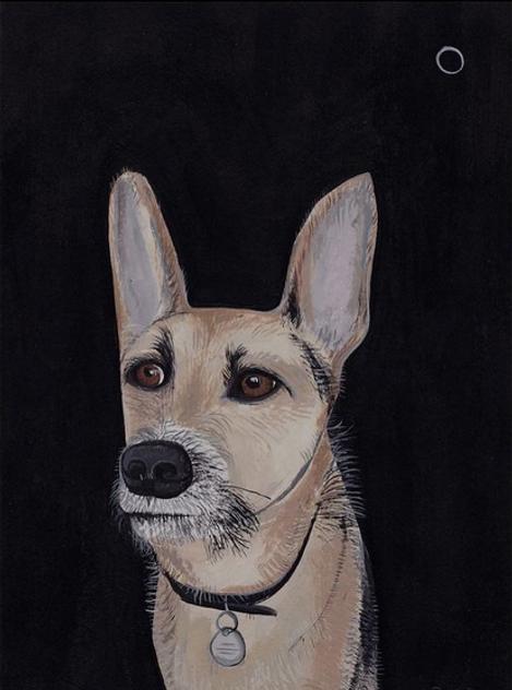 Portrait of Monty, acrylic on paper 2021