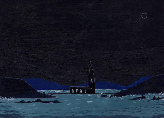 Black Church in the sea, acrylic on pape