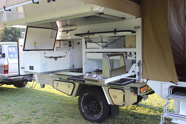 Wedgetail Campers inside/outside kitchen. Off road camper Trailer.