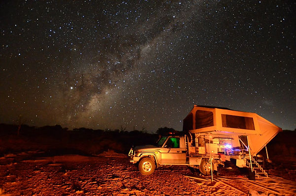 Wedgetail Camper at night under the stars. Camped in the South Australian desert. Contact us for more information on Wedgetail Campers.