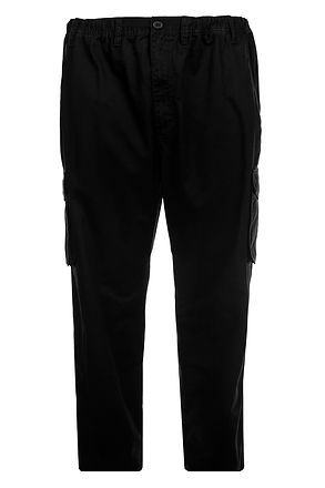TR052 PLAIN DYED CARGO TROUSERS BLACK SL