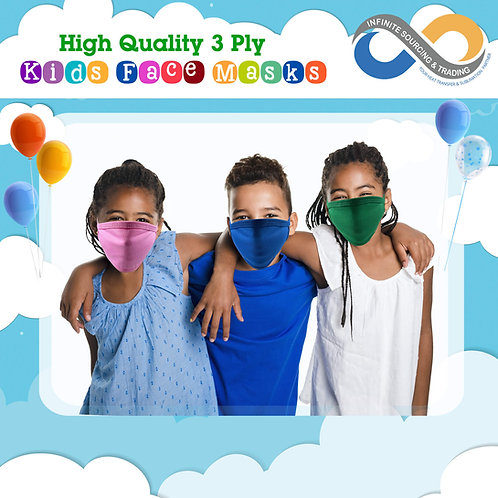 Back to School! Blank High Quality Colorful 3-Ply Cotton Face Masks