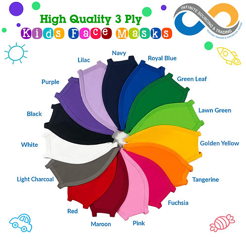 Starter Pack 30pcs-All 15 colors KIDS High Quality 3-Ply Face Mask