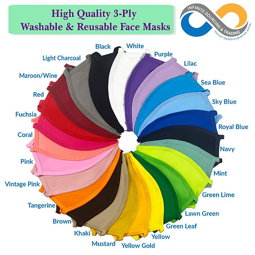 Blank High Quality ADULTS Washable & Reusable Colorful 3 layers Cloth Face Masks