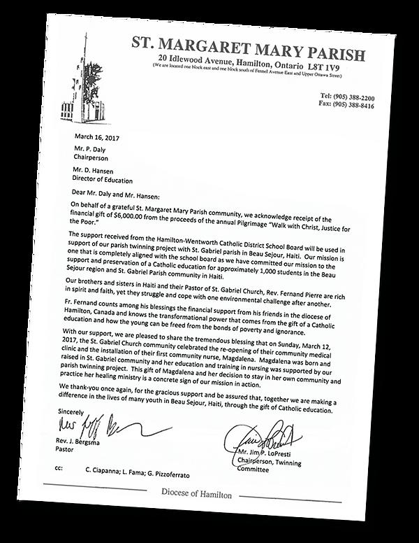 Letter to HWCDSB re: Pilgrimage Walk 207
