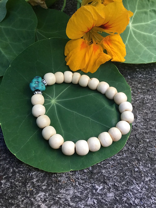 Bracelet de billes d'os naturel ajustable