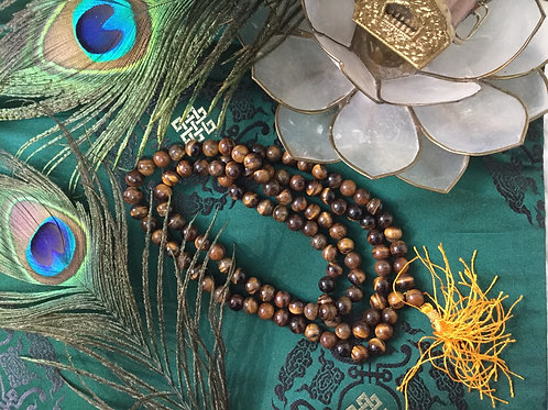 Buddhist mala with natural tiger's eye beads