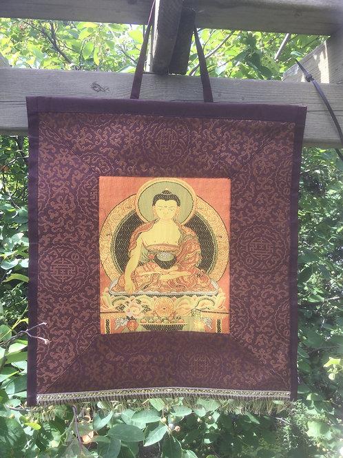 Thangka Buddha Shakiamuni brown and orange