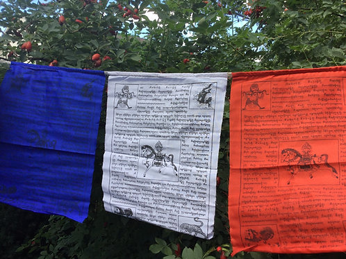 Prayer flags with Windhorse and 3 Jewels