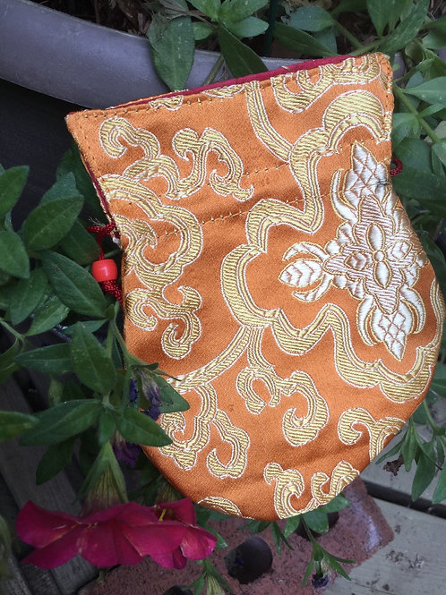 Mala pouch in orange satin