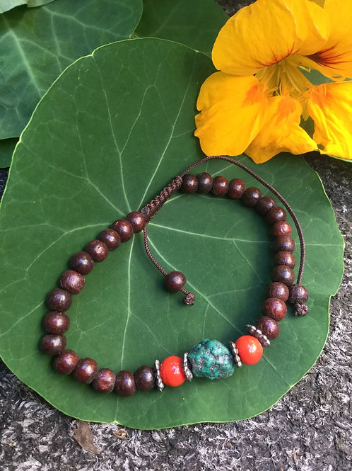 Buddhist whrist mala with brown wooden beads