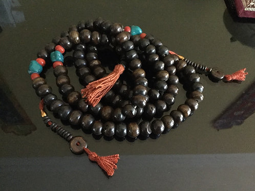 Buddhist mala in brown bone beads 90 cm