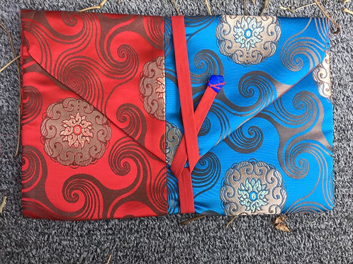 Book case (blue and red satin fabric)