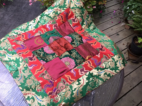 Buddhist Altar cloth in red, green and gold satin fabric