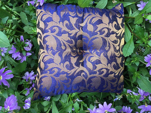 Square cushion in blue and gold satin for singing bowls