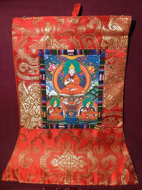 Mini thangka of Dje Tsongkhapa with 2 students