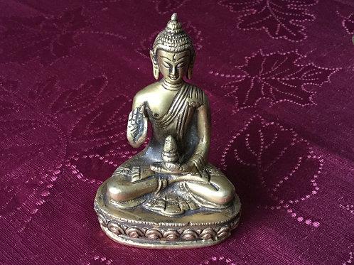 Buddha with teaching mudra brass statue