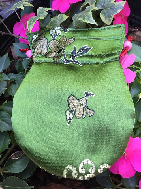 Mala pouch in spring green satin