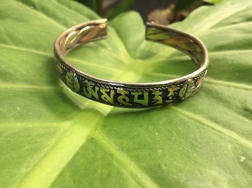 Bracelet ajustable en métal avec mantra de compassion