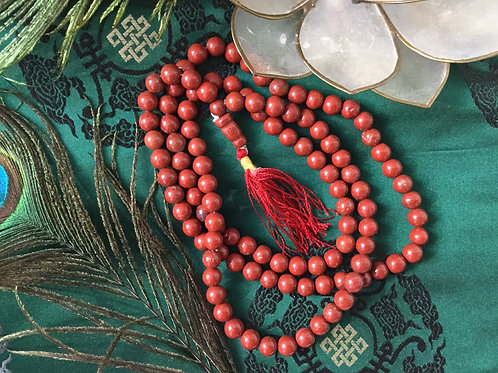 Buddhist mala with natural red Jaspe beads