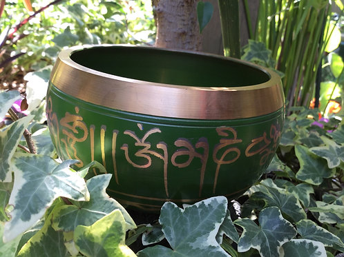 Tibetan singing bowl 12 cm, painted in green and gold