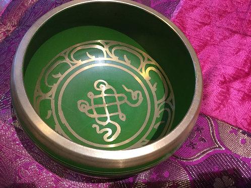 Tibetan Singing Bowl 13 cm Green painted