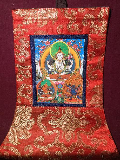 Mini thangka of compassion Buddha Tchenrezi