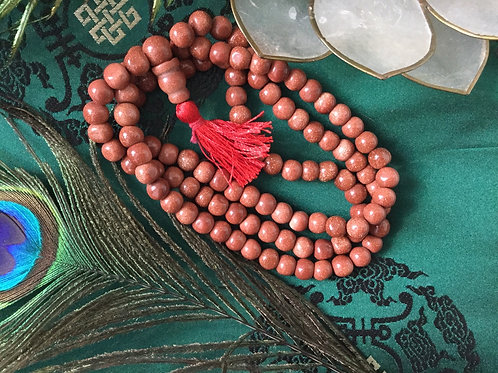 Buddhist mala of Sun stone (quartz beads)