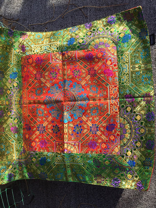 Buddhist altar cloth in green and red satin fabric