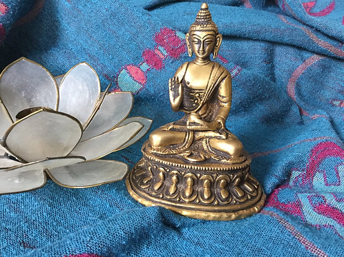 Buddha with teaching mudra brass statue
