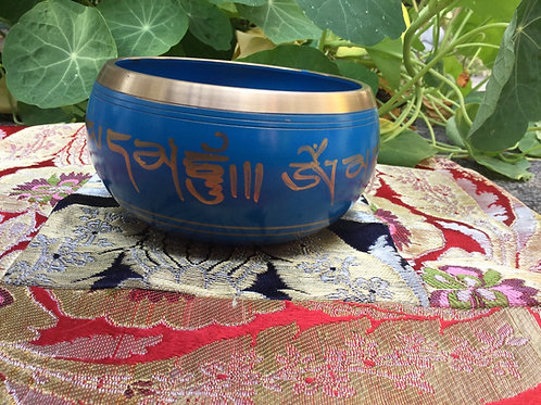 Tibetan singing bowl 10 cm, painted in blue and gold