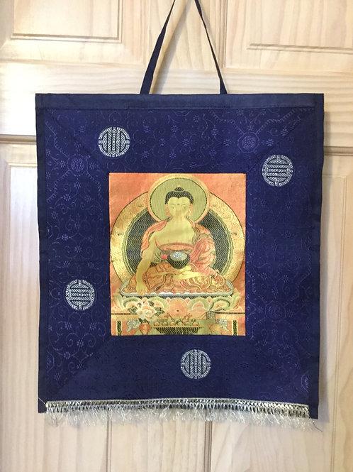Thangka de tissu du Bouddha Shakyamouni (indigo)