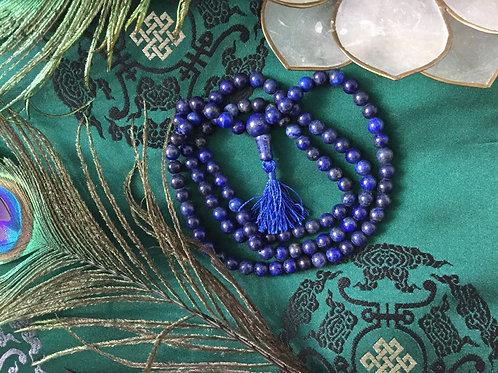 Buddhist mala of lapis lazuli like beads