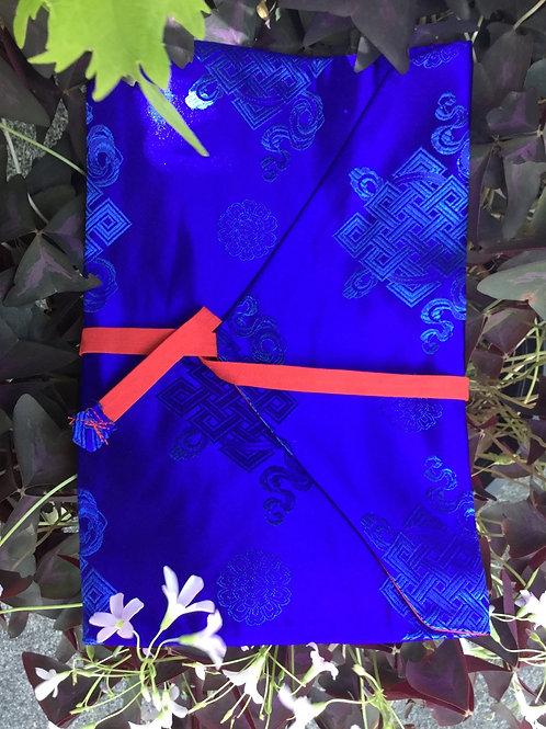 Protège-texte de satin bleu royal