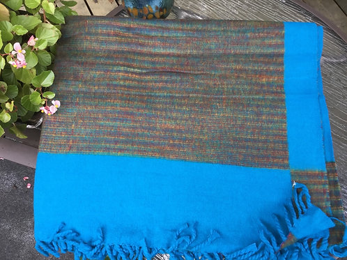 Shawl with thick warm like wool fabric in turquoise and brown