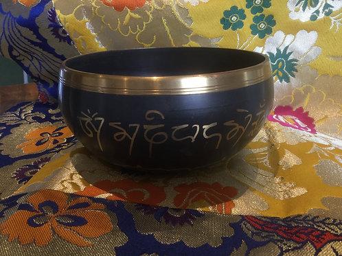 Tibetan singing bowl 14 cm, dark brown and gold painted