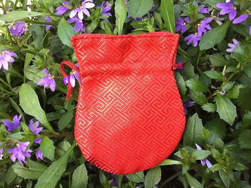 Mala pouch in bright red satin