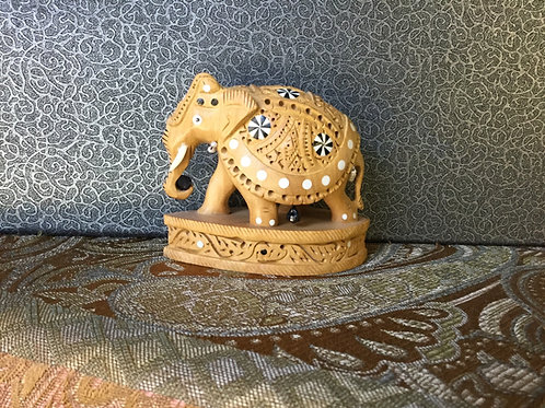 Hand sculpted wood elephant from India 7.5 cm