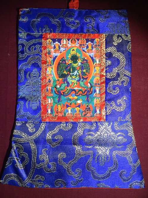 Mini thangka of Green Tara Buddha