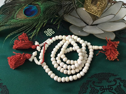 Buddhist mala with white bone beads 70 cm