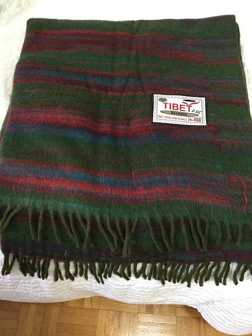 Châle de simili laine de yak léger vert et plus