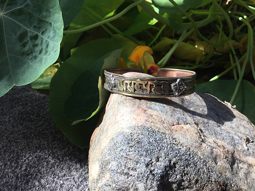 Copper cuff Bracelet handcrafted in India with Compassion Mantra