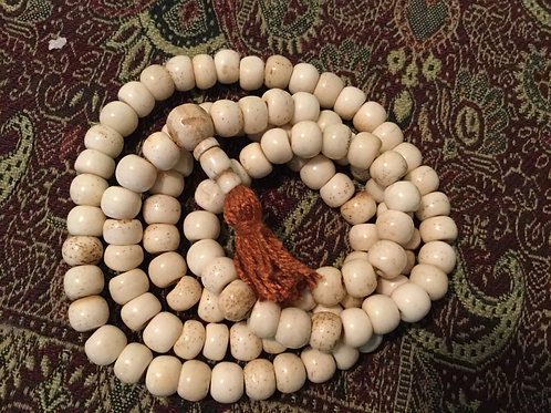 Buddhist mala in natural bone beads