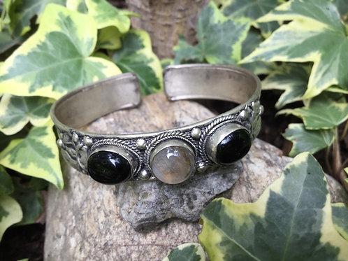Bracelet ajustable opale et onyx