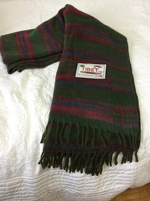 Shawl in simili yak wool striped in green